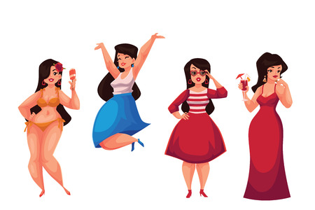 Cute curvy, overweight girl in bikini, casual, fashionable and evening dress, cartoon vector illustration isolated on white background. Happy and smiling fat, chubby, curvy girl in various dresses