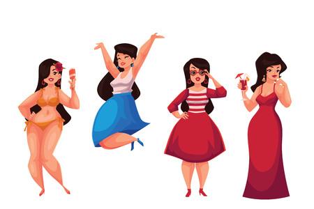 Schattig curvy, overgewicht meisje in bikini, casual, modieus en avondjurk, cartoon vector illustratie op een witte achtergrond. Gelukkig en lachende vet, mollig, bochtige meisje in verschillende jurken Stock Illustratie