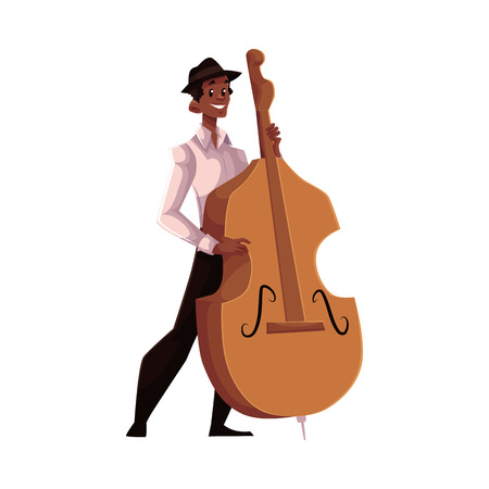 contrabass: Young African American male contrabass player, cartoon vector illustration isolated on white background. Full height portrait of African man in white shirt and black hat playing double bass