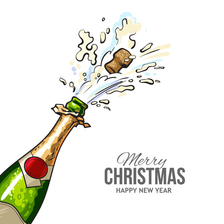 Christmas greeting card with cork popping out of champagne bottle. Merry Christmas and happy new year greeting card with diagonal view of hand drawn champagne bottle and popping out cork