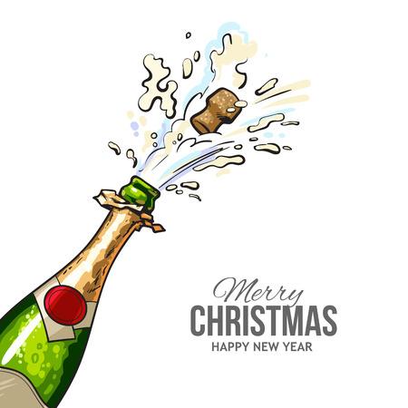 Bożenarodzeniowy kartka z pozdrowieniami z korkiem strzela z szampańskiej butelki. Wesołych Świąt i szczęśliwego nowego roku kartkę z życzeniami z przekątną widok ręcznie rysowane butelki szampana i wychodziły korek Ilustracje wektorowe