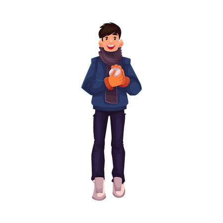 leisure time: Handsome young man making a snowball, cartoon vector illustration isolated on white background. Full height portrait of black haired man with a snowball, fun winter activity, outdoor leisure time