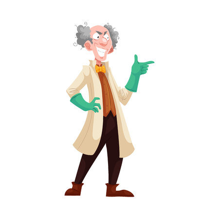 stereotype: Mad professor with grey bushy hair in lab coat and green rubber gloves, cartoon vector illustration isolated on white background. Crazy laughing white-haired scientist, stereotype of scientist