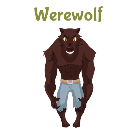 shifter: Scary werewolf, Halloween costume idea, cartoon style illustration isolated on white background. Frightening werewolf, shape shifter, traditional symbol of Halloween and fairytale character Stock Photo