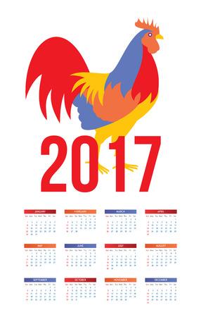 calendario octubre: Colorido calendario 2017 con el gallo - símbolo del año, ilustración aisladas sobre fondo blanco. plantilla de calendario para el año 2017 con un gallo bloque de color, la semana comienza desde el domingo