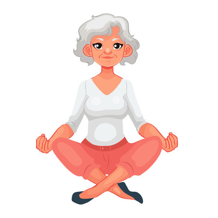 beautiful senior woman in various poses of yoga, cartoon style illustration isolated on white background. Beautiful old doing yoga, asanas, healthy lifestyle