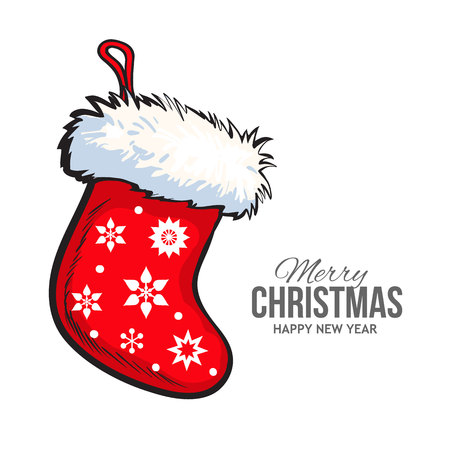 Sketch style Christmas boot with fur and ornaments, vector greeting card template. Hand drawn Christmas stocking, greeting card template for Christmas and New Year Eve