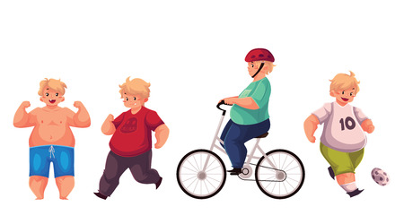 fat kid: Fat boy doing sport exercises, cycling, running, playing football, cartoon vector illustration isolated on white background. Obese, fat, chubby kid doing sport, getting fit, active lifestyle