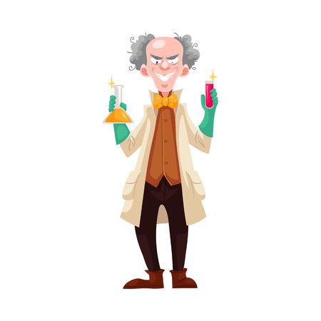 estereotipo: profesor loco en bata de laboratorio y guantes de goma verde que sostienen frascos, ilustración vectorial de dibujos animados aislado en el fondo blanco. Risa loca científico de pelo blanco, estereotipo del científico