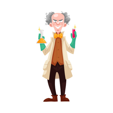 Mad professor in lab coat and green rubber gloves holding flasks, cartoon vector illustration isolated on white background. Crazy laughing white-haired scientist, stereotype of scientist Illustration