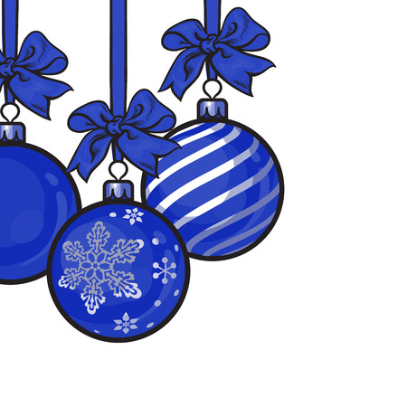 blue christmas balls with blue ribbon and bows sketch style vector template for greeting card - Blue Christmas Balls
