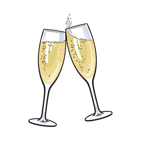 Par de copas de champán, conjunto de ilustración vectorial estilo de dibujo aislado en el fondo blanco. vasos dibujados a mano con champán burbujeante, alegrías, tostada vacaciones