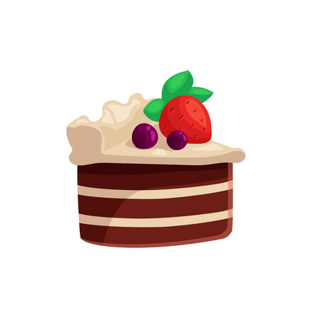 indulgence: Chocolate cake with white icing and strawberry on top, cartoon vector illustration isolated on white background. Piece of chocolate cake with white cream and ripe strawberry, yummy looking dessert