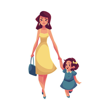 mom and daughter: Mother and daughter walking together, cartoon vector illustrations isolated on white background. Young beautiful mom holding her daughter hand and walking together, happy family concept