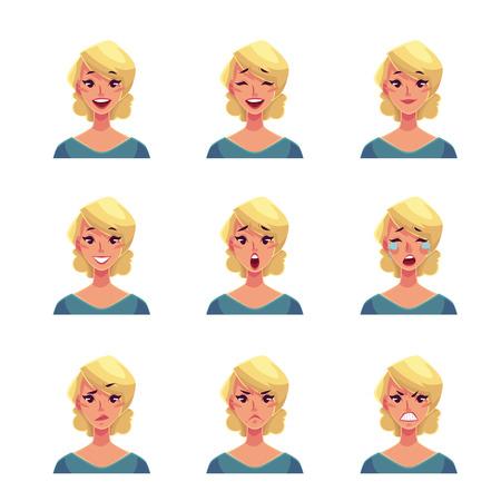 Fille visage expression, ensemble de vecteur de bande dessinée illustrations isolé sur fond blanc. Blond visage icônes femme emoji, symboles d'expressions humaines, jeu de avatars féminins avec des émotions différentes Vecteurs
