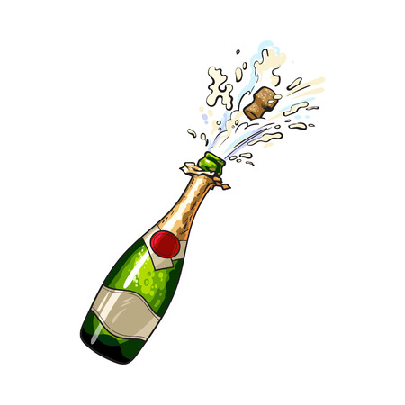 Champagne bottle with cork popping out, sketch style vector illustration isolated on white background. Diagonal view of hand drawn champagne bottle with cork jumping out with explosion