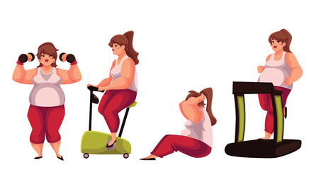 Fat woman doing sport exercises, cartoon vector illustration isolated on white background. Obese, fat, chubby woman doing treadmill walking, cycling, sit ups and dumbbell exercises, getting fit