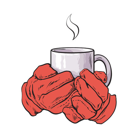 well groomed female hand holding a cup with tea or coffee, sketch style vector illustration isolated on white background. Realistic drawing of beautiful hand holding a mug with a hot beverage Illusztráció