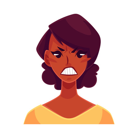 frowns: Pretty African girl, angry facial expression, cartoon vector illustrations isolated on white background. Black woman frowns, feeling distresses, frustrated, sullen, upset. Angry face expression
