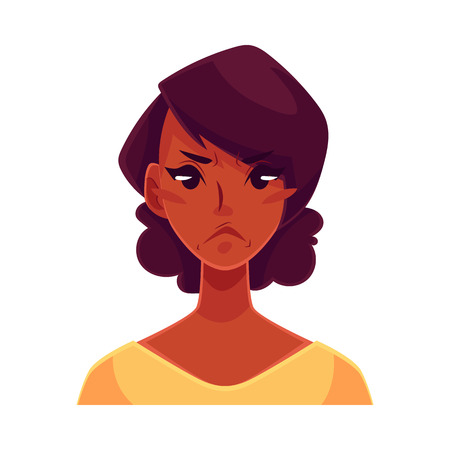 frowns: Pretty African girl, angry facial expression, cartoon vector illustrations isolated on white background. Black woman frowns, feeling distressed, frustrated, sullen, upset. Angry face expression