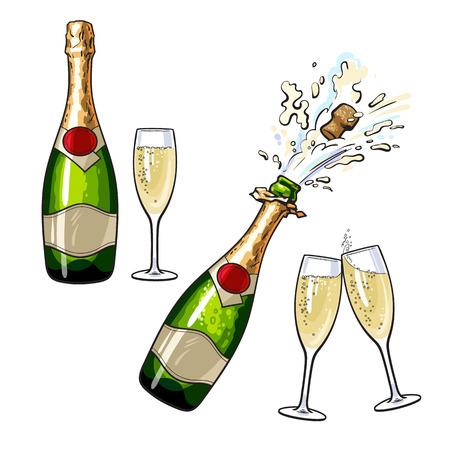 Butelka szampana i okulary, zestaw ilustracji wektorowych kreskówek samodzielnie na białym tle. Zamknięta i otwarta butelka szampana i okulary, toast wakacje, korek wyskakuje z wybuchu
