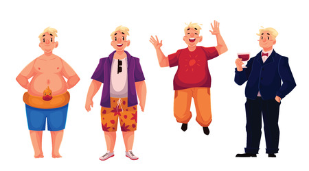 potbelly: Young, happy fat man in swimming shorts, casual clothing and business suit, set of cartoon vector illustrations isolated on white background. Overweight, fat man enjoying life and having fun