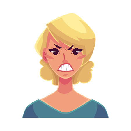 frowns: Pretty blond woman, angry facial expression, cartoon vector illustrations isolated on white background. Beautiful woman frowns, feeling distresses, frustrated, sullen, upset. Angry face expression