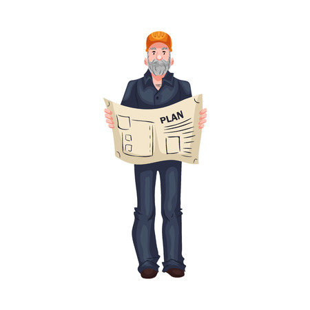 arquitecto caricatura: Full length portrait of mature Caucasian architect or foreman, cartoon style vector illustration isolated on white background. Foreman, architect in orange helmet, blue shirt and jeans holding a plan Vectores