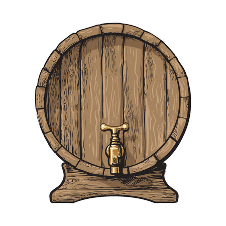 Wooden barrel with tap, sketch style vector illustrations isolated on white background. Front view of wine, rum, beer classical wooden barrel with a tap