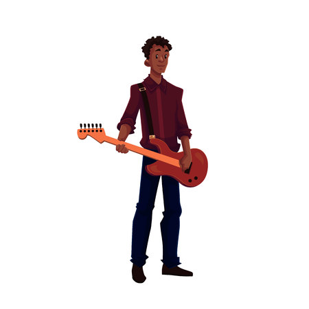 african american male: Young African American male electric guitar player, cartoon vector illustration isolated on white background. Full height portrait of black man playing electric guitar Illustration