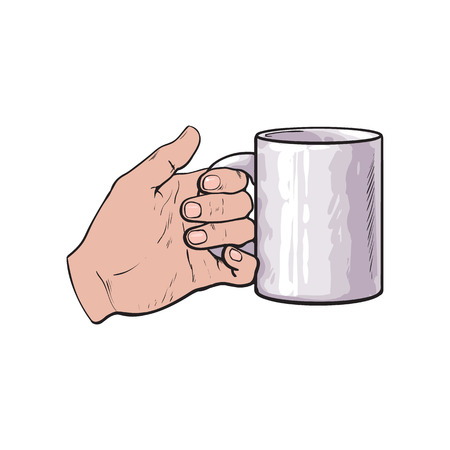 well groomed female hand holding a cup with tea or coffee, sketch style vector illustration isolated on white background. Realistic drawing of beautiful hand holding a mug with a hot beverage Stock fotó - 64764629