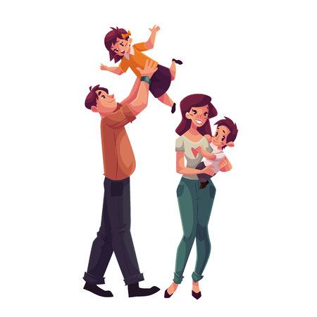 Father, mother, daughter and son, cartoon vector illustrations isolated on white background. Dad throwing his little daughter up and mom holding daughter in her hands, happy family concept Illustration