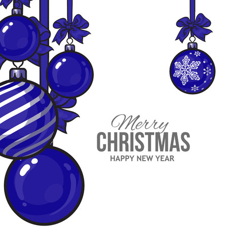 new year decoration: Blue Christmas balls with ribbon and bows, vector greeting card template. Set of blue Christmas decoration balls, solid, striped and with a snowflake, New Year greeting card template