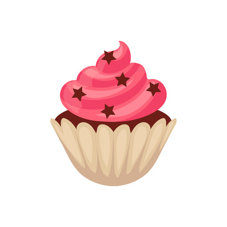 Chocolate cupcake with pink colored icing, cartoon vector illustration isolated on white background. Chocolate muffin, cupcake with pink icing and stars, isolated dessert, yummy looking sweets Illustration