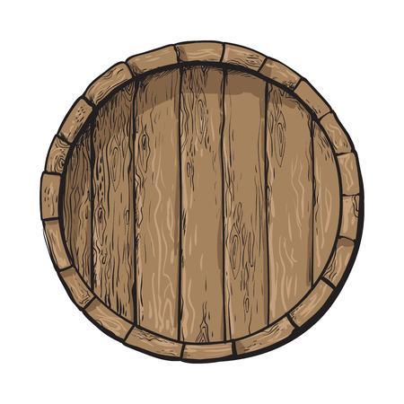 木製の樽型の平面図、白い背景で隔離のスタイル ベクトル イラストをスケッチします。ワイン、ラム酒、ビール クラシック木製樽、手描きのベク