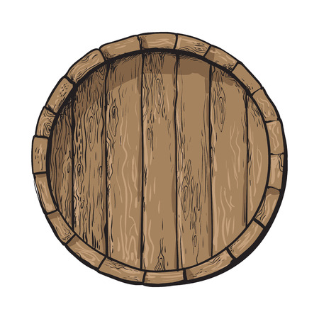 Top view of wooden barrel, sketch style vector illustrations isolated on white background. Wine, rum, beer classical wooden barrel, hand-drawn vector illustration, top view