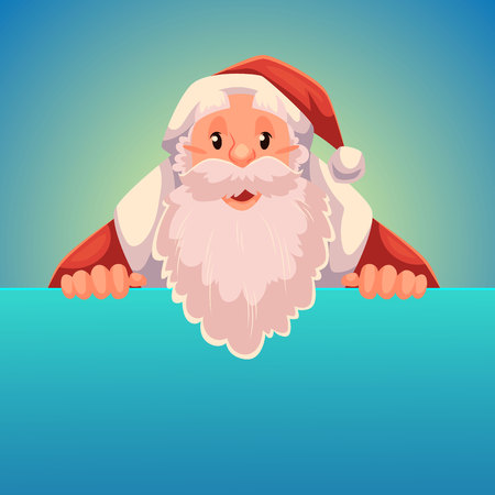 Santa Claus holding a sign with a place for text, cartoon style vector illustration isolated on blue background. Half length portrait of Santa holding an empty board, Christmas decoration element Illustration