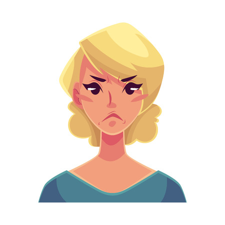 Pretty blond woman, angry facial expression, cartoon vector illustrations isolated on white background. Beautiful woman frowns, feeling distressed, frustrated, sullen, upset. Angry face expression Illustration