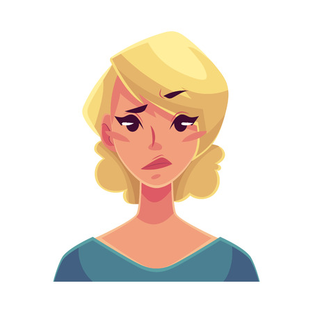 concerned: Pretty blond woman, upset, confused facial expression, cartoon vector illustrations isolated on white background. Beautiful woman feeling upset, concerned, confused frustrated.