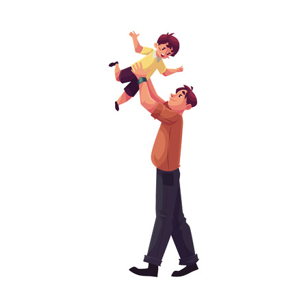 Father throwing his son into the air, cartoon vector illustrations isolated on white background. Dad throwing his little son up and catching him. Young handsome father playing with his kid