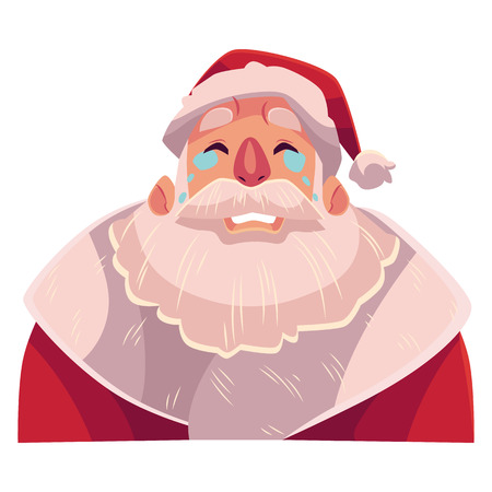Santa Claus face , crying facial expression, cartoon vector illustrations isolated on white background. Santa Claus emoji crying, shedding tears, sad, heart broken, in grief. Illustration