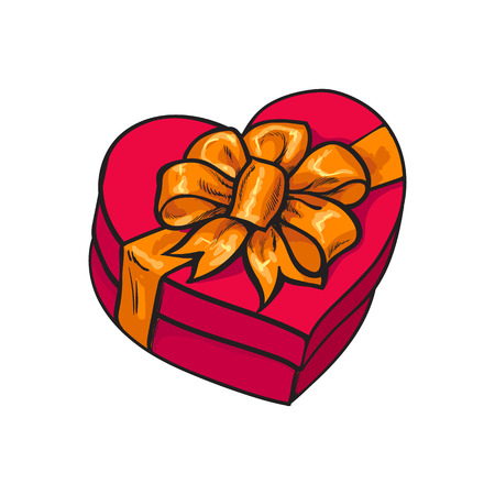 heartshaped: Red hand-drawn heart-shaped gift box with bow and ribbon, sketch style vector illustration isolated on white background. Xmas, birthday, Valentine present, gift, surprise, decoration element Illustration