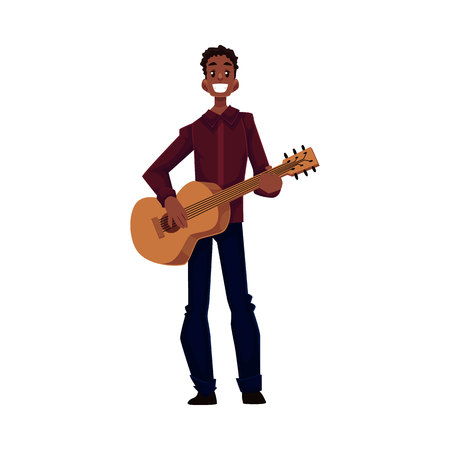 african american male: Young African American male guitar player, cartoon vector illustration isolated on white background. Full height portrait of black man with a wide smile playing guitar Illustration