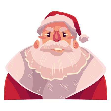 concerned: Santa Claus face, upset, confused facial expression, cartoon vector illustrations isolated on white background. Santa Claus feeling upset, concerned, confused frustrated.