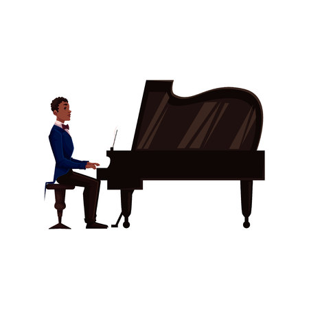 african american male: Young African American male piano player, cartoon vector illustration isolated on white background. Side view of black man in suit and bow tie playing grand piano with open lid Illustration