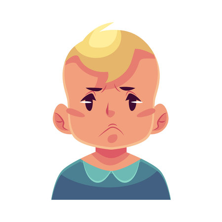 Little boy face, angry facial expression, cartoon vector illustrations isolated on white background. Blond male kid emoji face, feeling distressed, frustrated, sullen, upset. Angry face expression Illustration