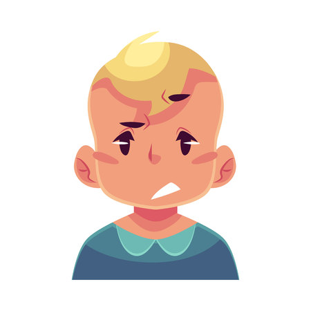misunderstanding: Little boy face, upset, confused facial expression, cartoon vector illustrations isolated on white background. Blond male kid emoji face, concerned, confused frustrated. Illustration