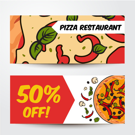 two horizontal pizza banners with ingredients colorful sketch