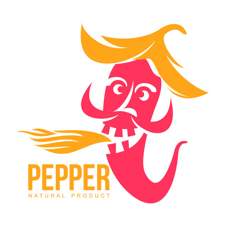 pink and orange of chili pepper vector illustration, isolated on white background. Hot and spice chili pepper, skull and bones, mexican cuisine