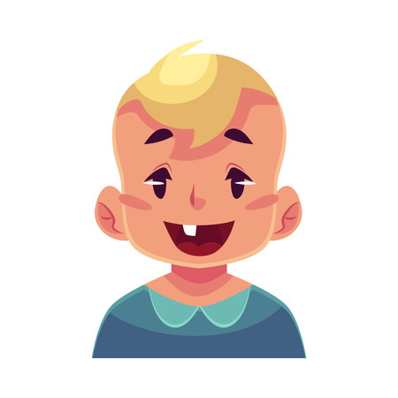 astonishment: Little boy face, wow facial expression, cartoon vector illustrations isolated on white background. Blond male kid emoji face surprised, amazed, astonished. Surprised, wow face expression